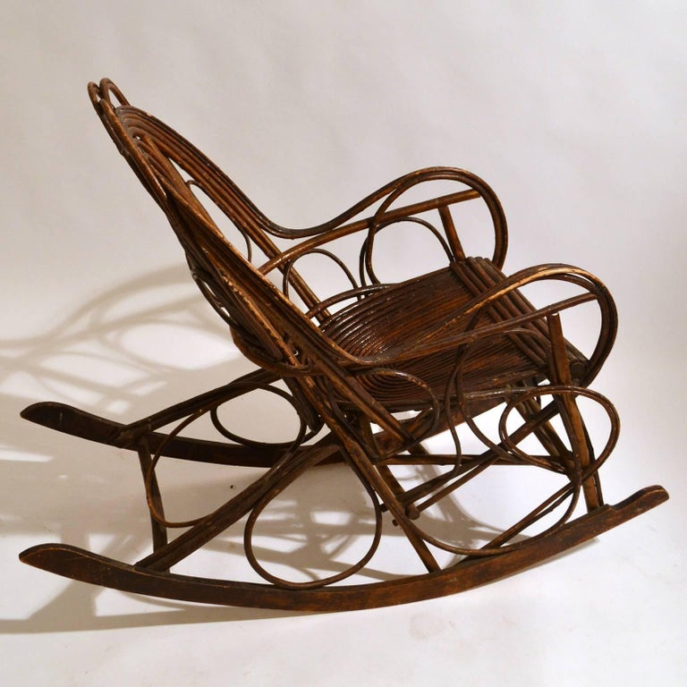 Rocking Chair in Bentwood Willow, Swedish, 1900-1920 3