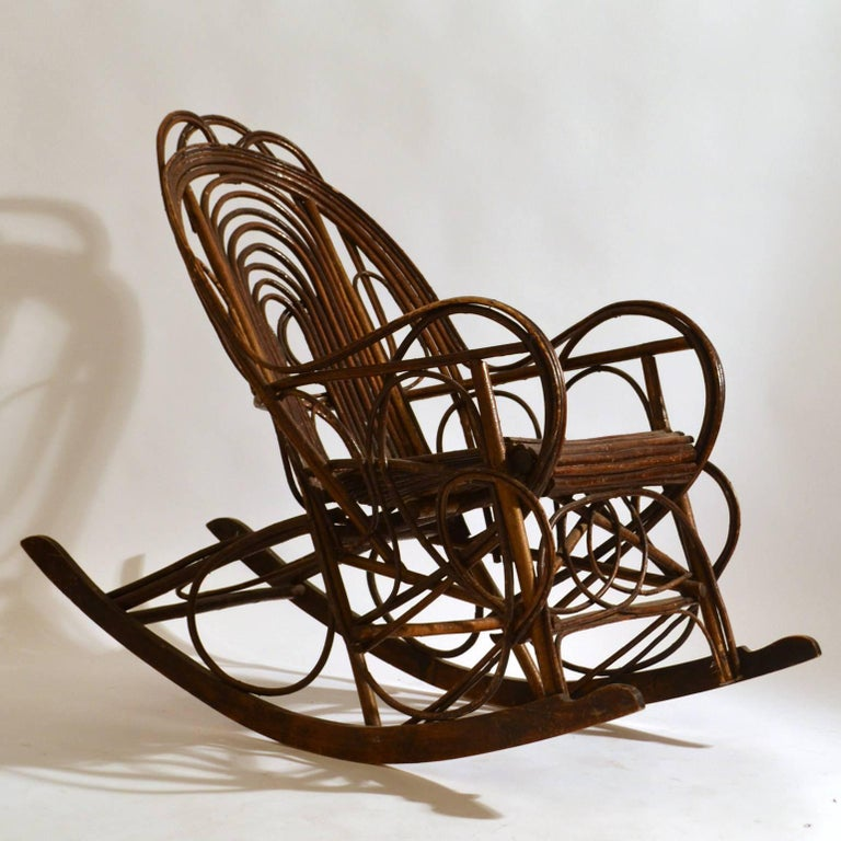 Rocking Chair in Bentwood Willow, Swedish, 1900-1920 4