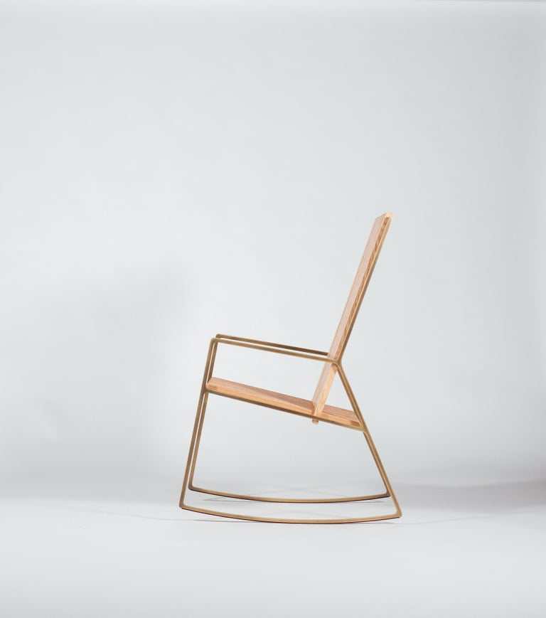 Modern Rocking Chair in Laser-Cut Burnish Brass Plated Steel and Oak Slats For Sale