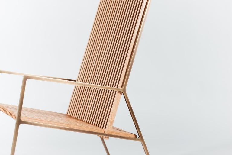 American Rocking Chair in Laser-Cut Burnish Brass Plated Steel and Oak Slats For Sale