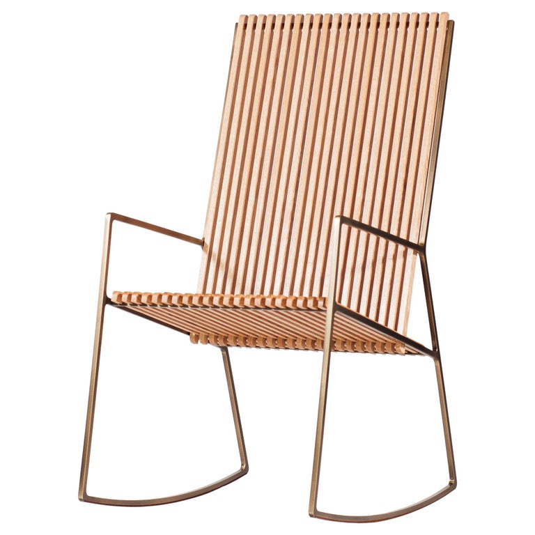 Rocking Chair in Laser-Cut Burnish Brass Plated Steel and Oak Slats For Sale
