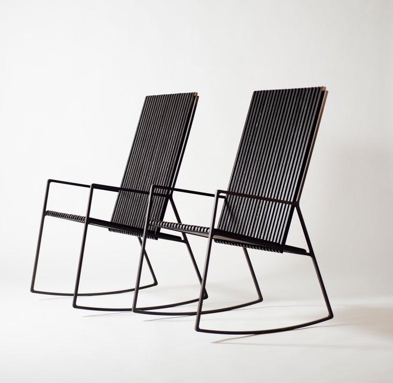 Modern Rocking Chair in Laser-Cut Blackened Steel and Black Oak Slats For Sale