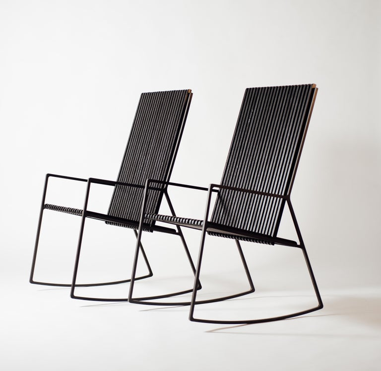 Astounding Rocking Chair In Laser Cut Blackened Steel And Black Oak Slats Inzonedesignstudio Interior Chair Design Inzonedesignstudiocom