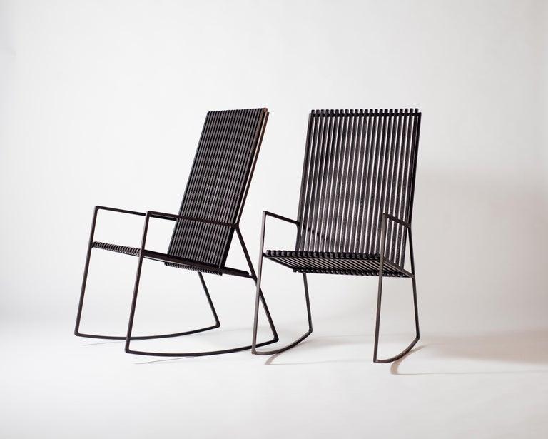 American Rocking Chair in Laser-Cut Blackened Steel and Black Oak Slats For Sale