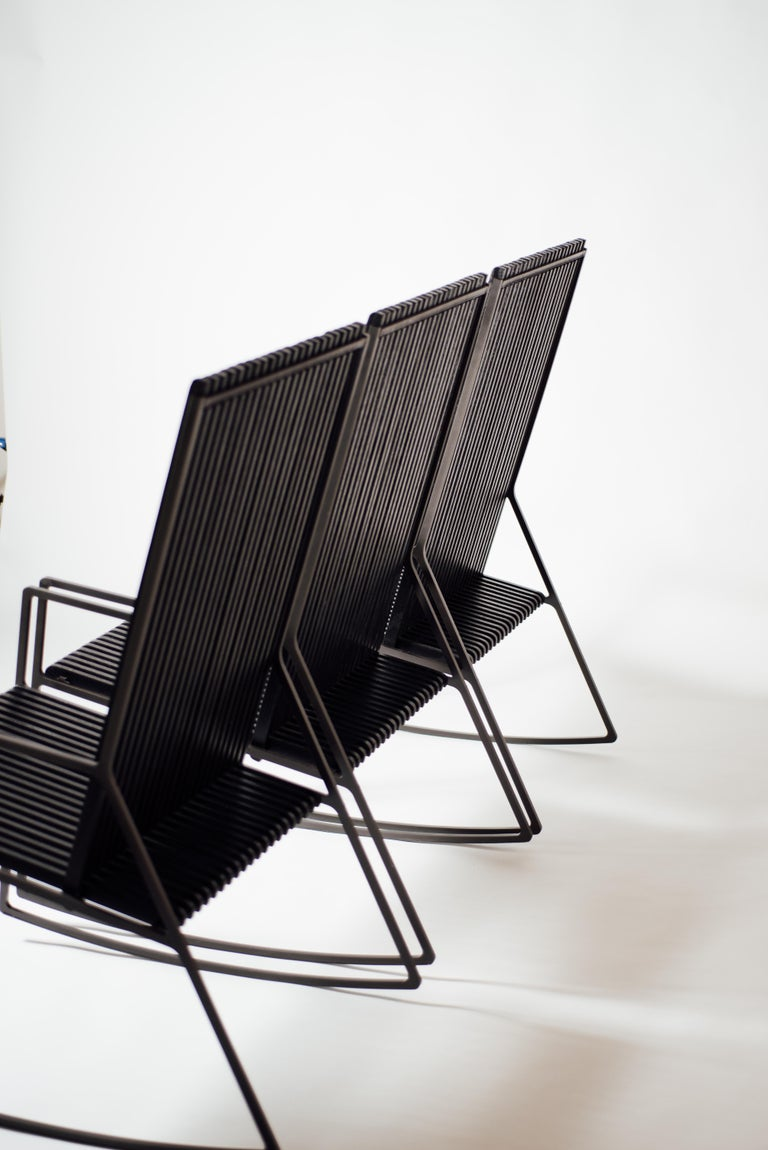 Rocking Chair in Laser-Cut Blackened Steel and Black Oak Slats In New Condition For Sale In Los Angeles, CA