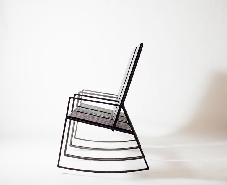 Cut Steel Rocking Chair in Laser-Cut Blackened Steel and Black Oak Slats For Sale