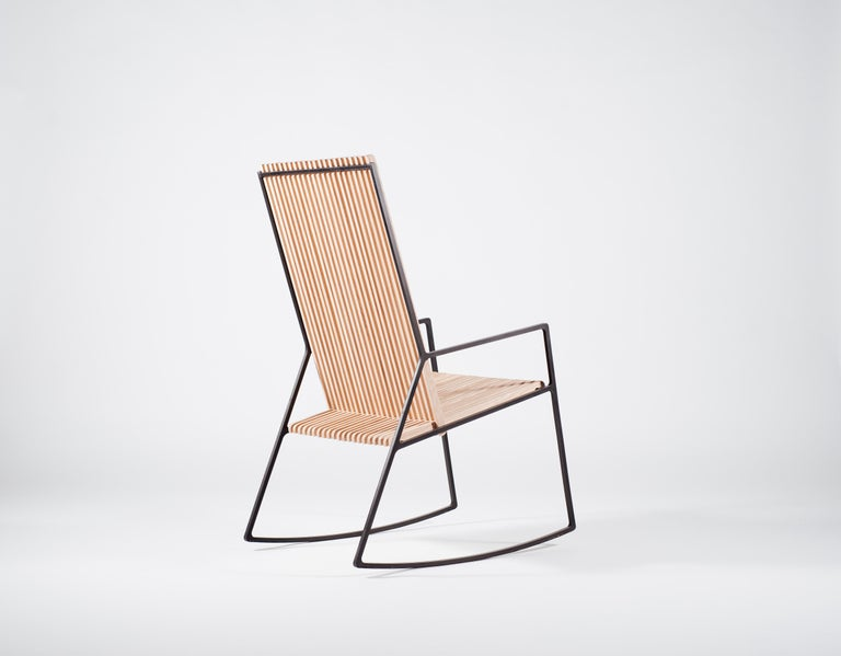 Modern Rocking Chair in Laser-Cut Blackened Steel and Oiled Oak Slats For Sale
