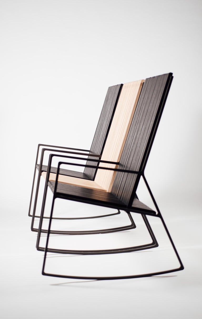 American Rocking Chair in Laser-Cut Blackened Steel and Oiled Oak Slats For Sale