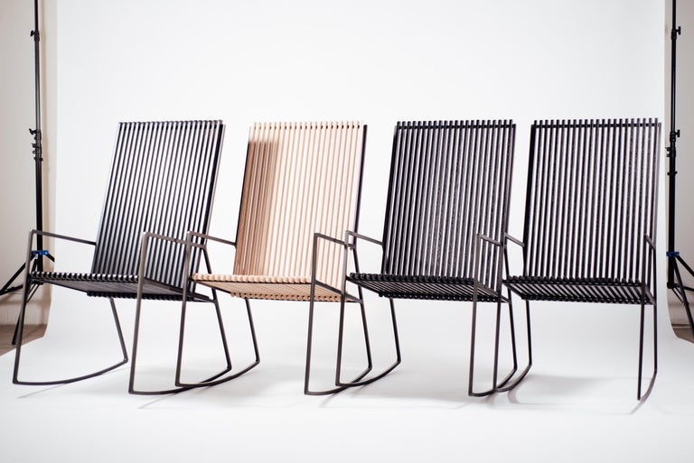 Rocking Chair in Laser-Cut Blackened Steel and Oiled Oak Slats In New Condition For Sale In Los Angeles, CA