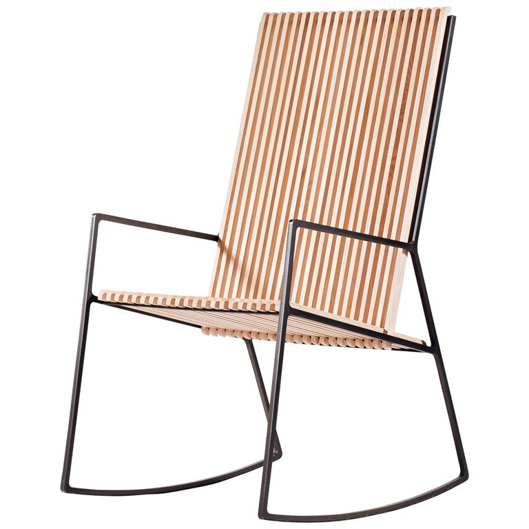 Rocking Chair in Laser-Cut Blackened Steel and Oiled Oak Slats For Sale