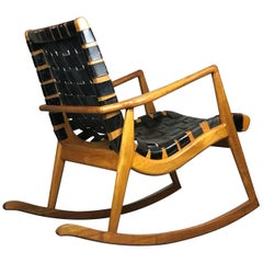 Rocking Chair in Leather and Walnut by Mel Smilow for Smilow-Thiel