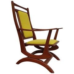 Rocking Chair in Solid Teak Wood, Kvadrat Wool, 1960s, Renovated