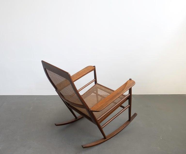 Rocking Chair Joaquim Tenreiro, 1960s, Brazilian Midcentury Design In Good Condition For Sale In Clifton, NJ