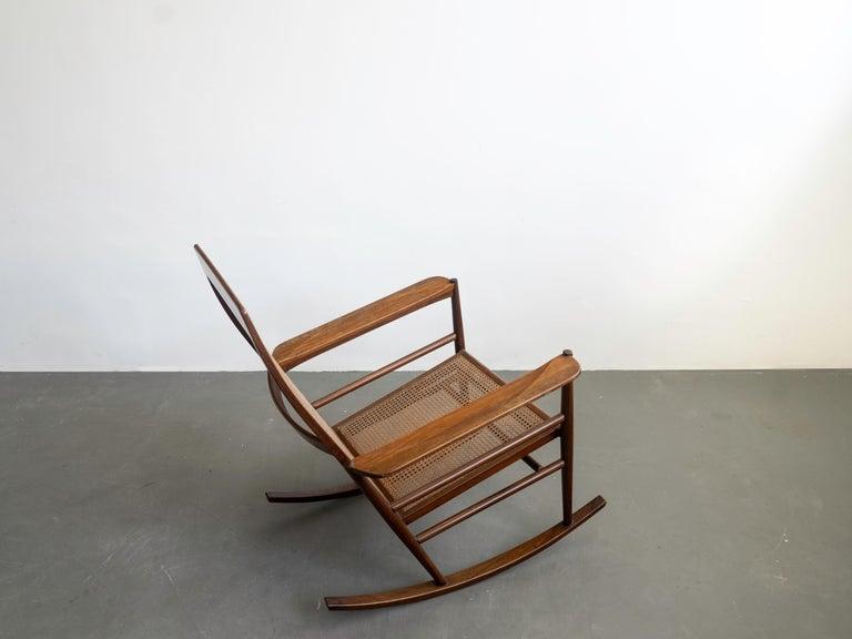 Mid-20th Century Rocking Chair Joaquim Tenreiro, 1960s, Brazilian Midcentury Design For Sale