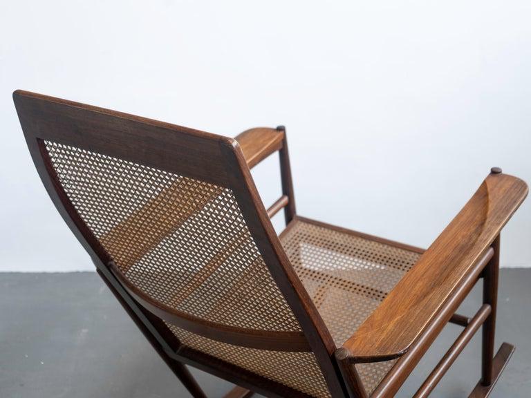 Cane Rocking Chair Joaquim Tenreiro, 1960s, Brazilian Midcentury Design For Sale