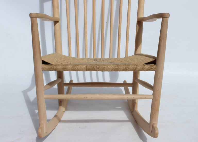Scandinavian Modern Rocking Chair, Model J16, of Beech, by Hans J. Wegner and Fredericia For Sale