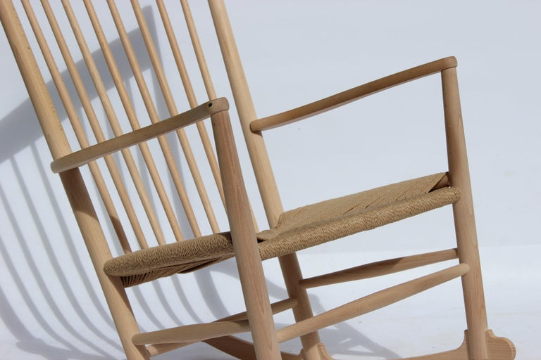 Danish Rocking Chair, Model J16, of Beech, by Hans J. Wegner and Fredericia For Sale