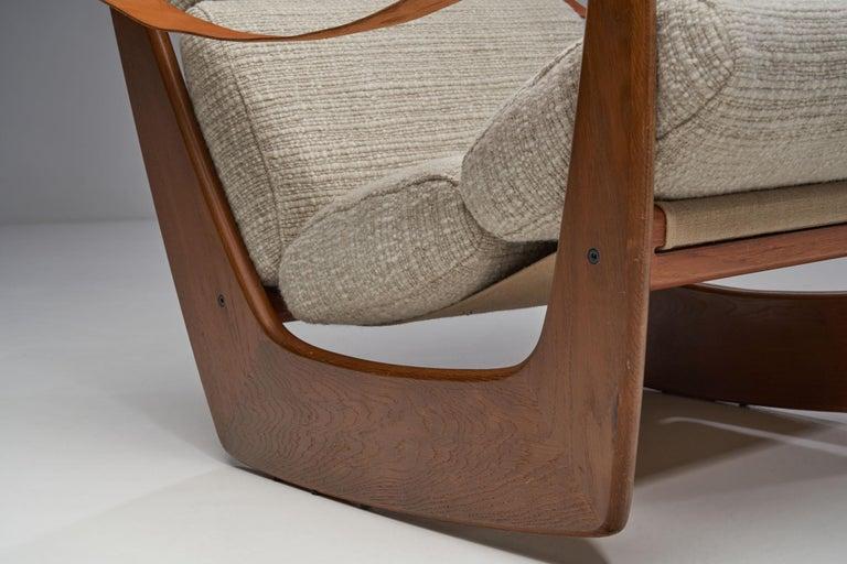 Rocking Chair of Oak by Bent Møller Jepsen, Denmark, ca 1960s For Sale 10