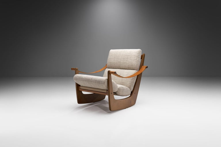 """A """"gyngestol"""" (rocking chair) is a staple in Danish design. This rare model by the multitalented Danish designer, upholsterer and furniture architect Bent Møller Jepsen looks like none other, with a minimalistic, yet eye-catching structure that"""