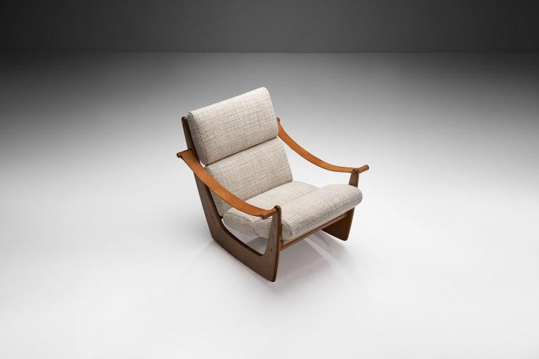Mid-20th Century Rocking Chair of Oak by Bent Møller Jepsen, Denmark, ca 1960s For Sale