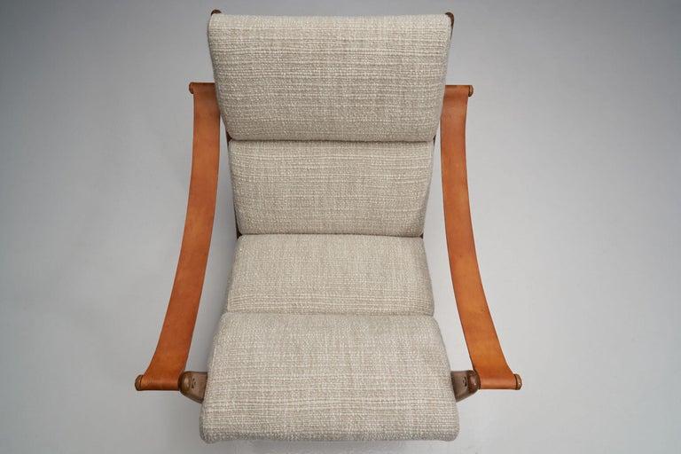 Leather Rocking Chair of Oak by Bent Møller Jepsen, Denmark, ca 1960s For Sale