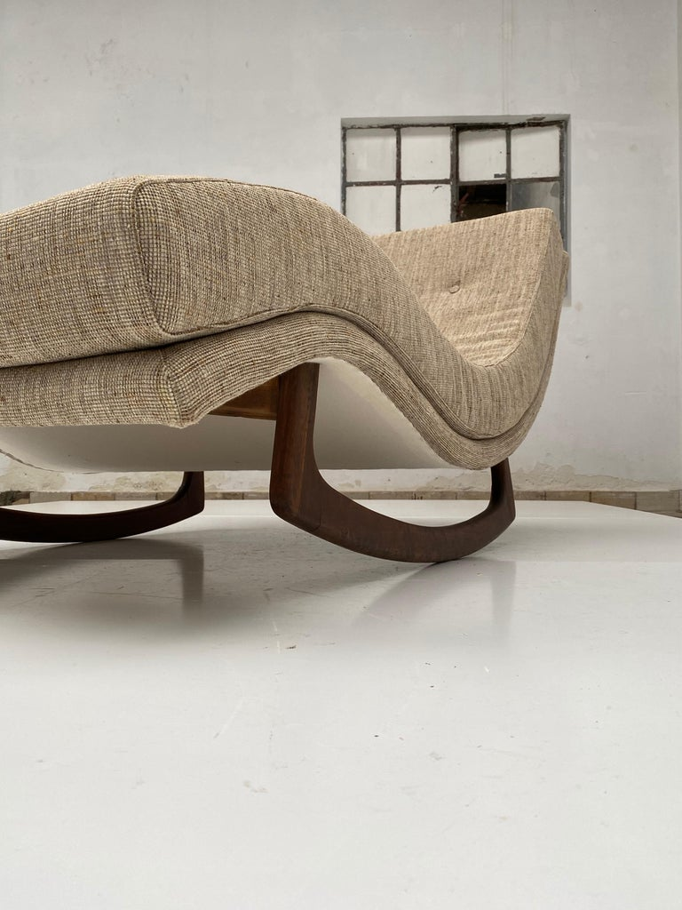 Upholstery Rocking Chaise Lounge by Adrian Pearsall for Craft Associates, USA, 1960s For Sale