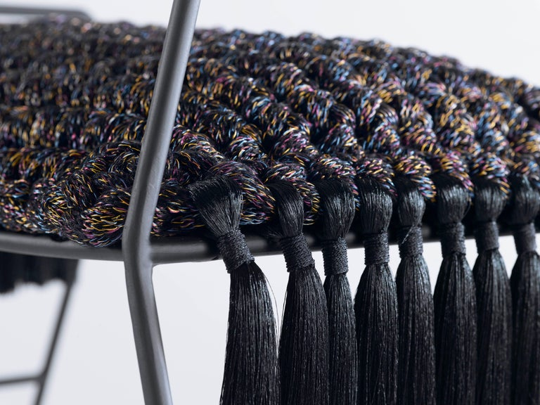 Israeli Rocking Horse Stool, Matte Black Iron with Handmade Crochet Cushion Seat For Sale