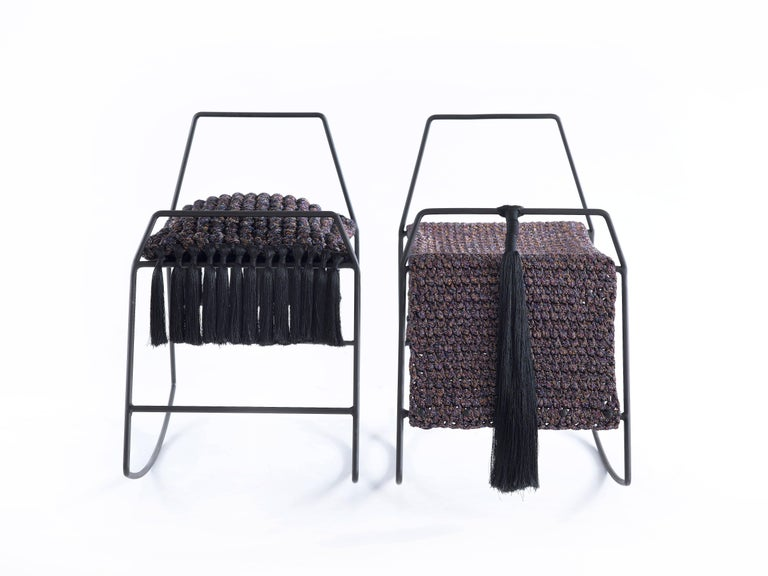Contemporary Rocking Horse Stool, Matte Black Iron with Handmade Crochet Cushion Seat For Sale