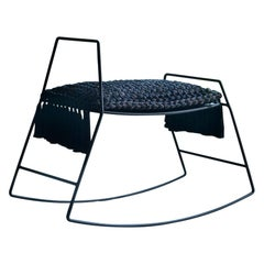 Rocking Horse Stool, Matte Black Iron with Handmade Crochet Cushion Seat
