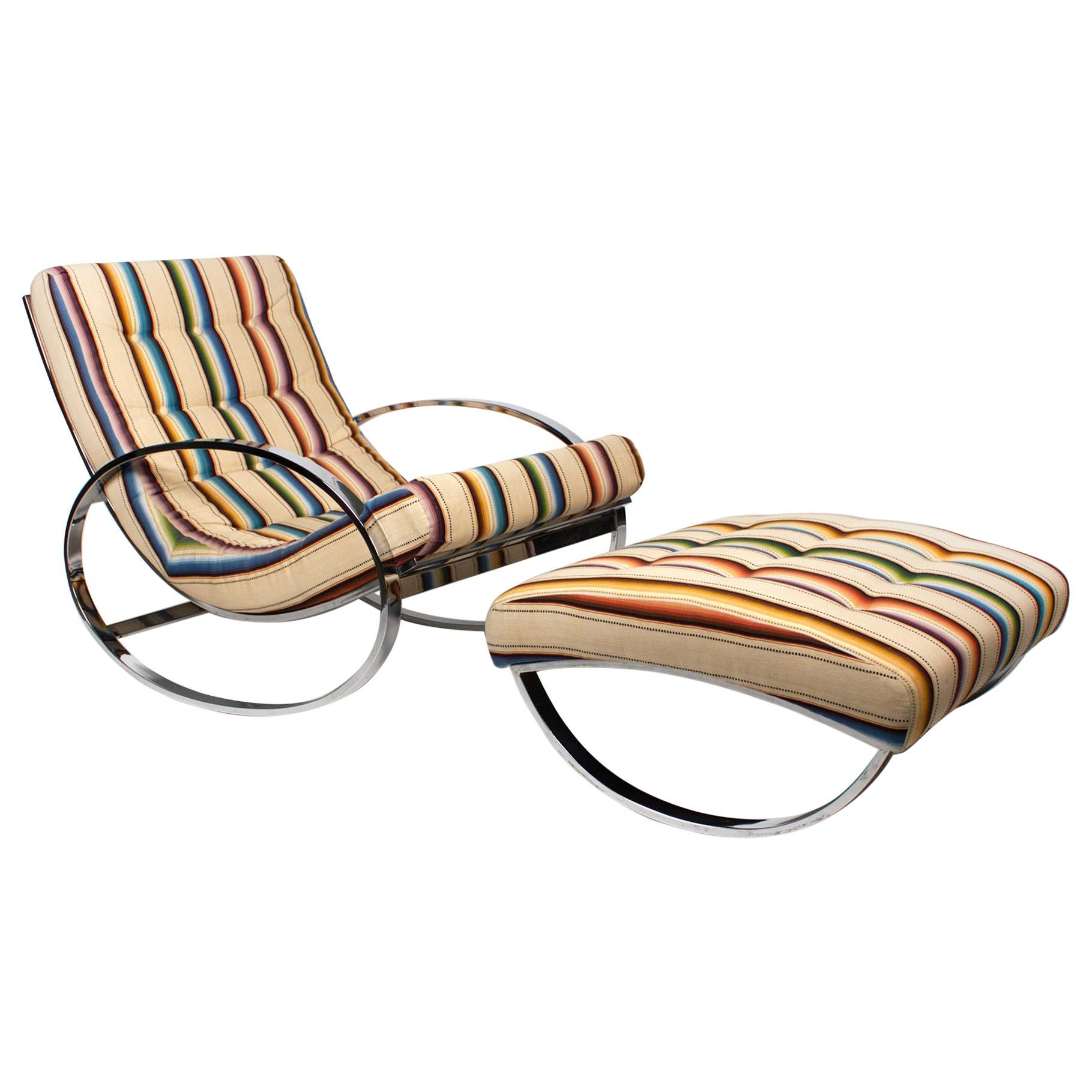 Rocking Lounge Chair and Ottoman by Renato Zevi