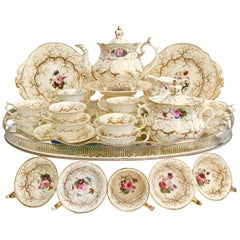 Rockingham Porcelain Full Tea Service, Gilt and Flowers, Rococo Revival 1832