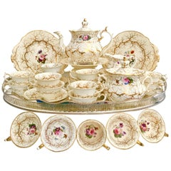 Rockingham Porcelain Full Tea Service, Gilt and Flowers, Rococo Revival, 1832