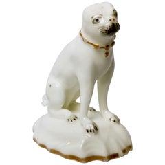 Rockingham Porcelain Pug Dog, White, Rococo Revival, circa 1835
