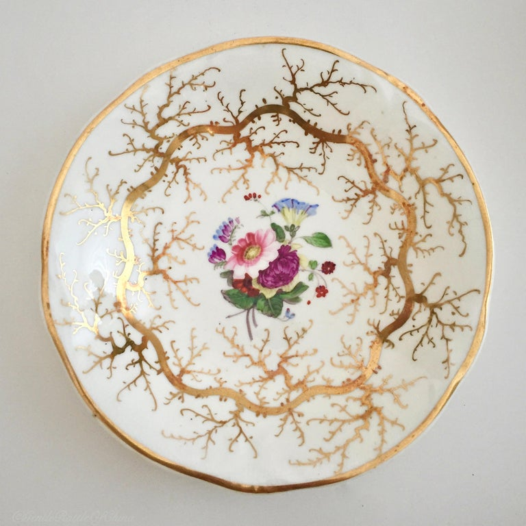 Rockingham Porcelain Tea Service, Cream, Gilt and Flowers, Rococo Revival, 1832 For Sale 5