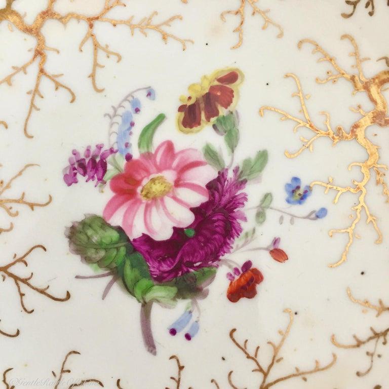 Rockingham Porcelain Tea Service, Cream, Gilt and Flowers, Rococo Revival, 1832 For Sale 6