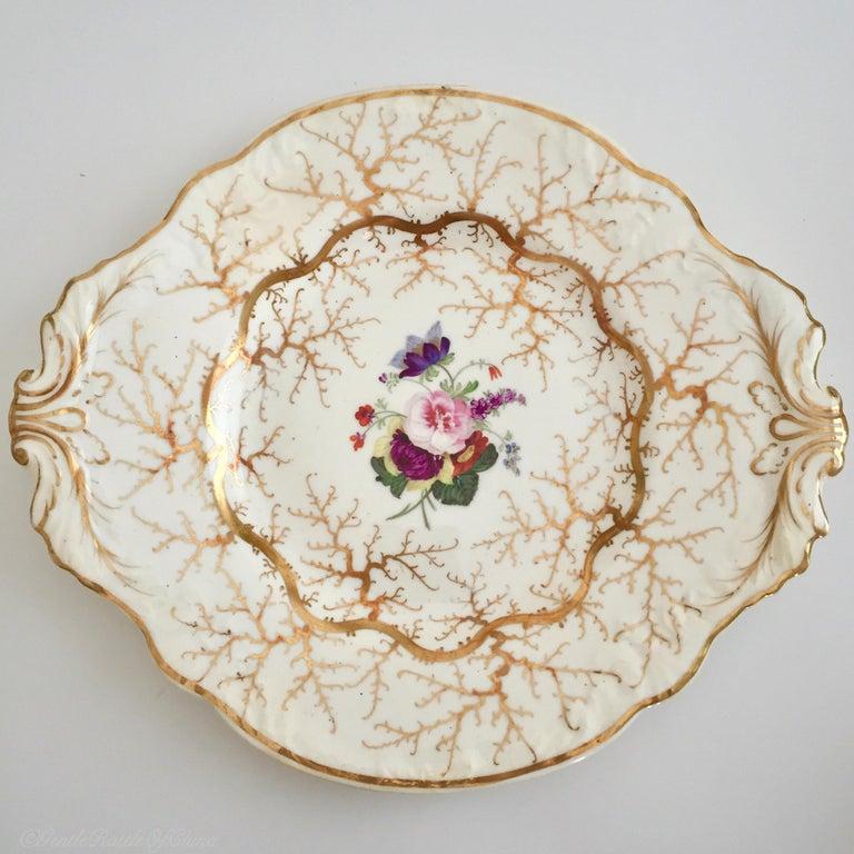Rockingham Porcelain Full Tea Service, Gilt and Flowers, Rococo Revival, 1832 For Sale 7