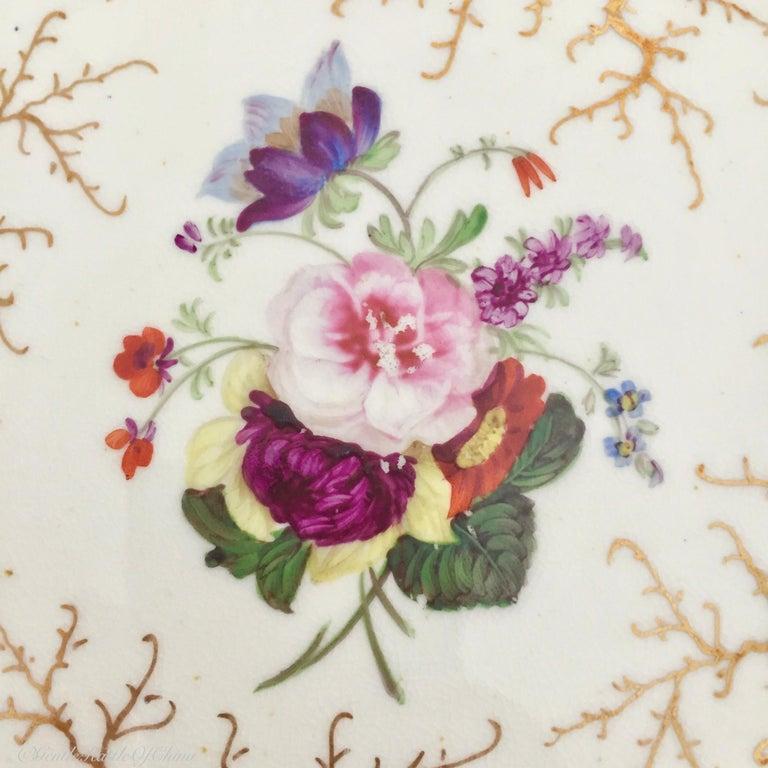 Rockingham Porcelain Tea Service, Cream, Gilt and Flowers, Rococo Revival, 1832 For Sale 8