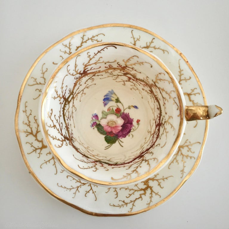 Rockingham Porcelain Tea Service, Cream, Gilt and Flowers, Rococo Revival, 1832 For Sale 9