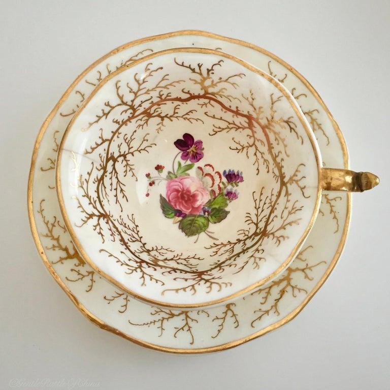 Rockingham Porcelain Full Tea Service, Gilt and Flowers, Rococo Revival, 1832 For Sale 10