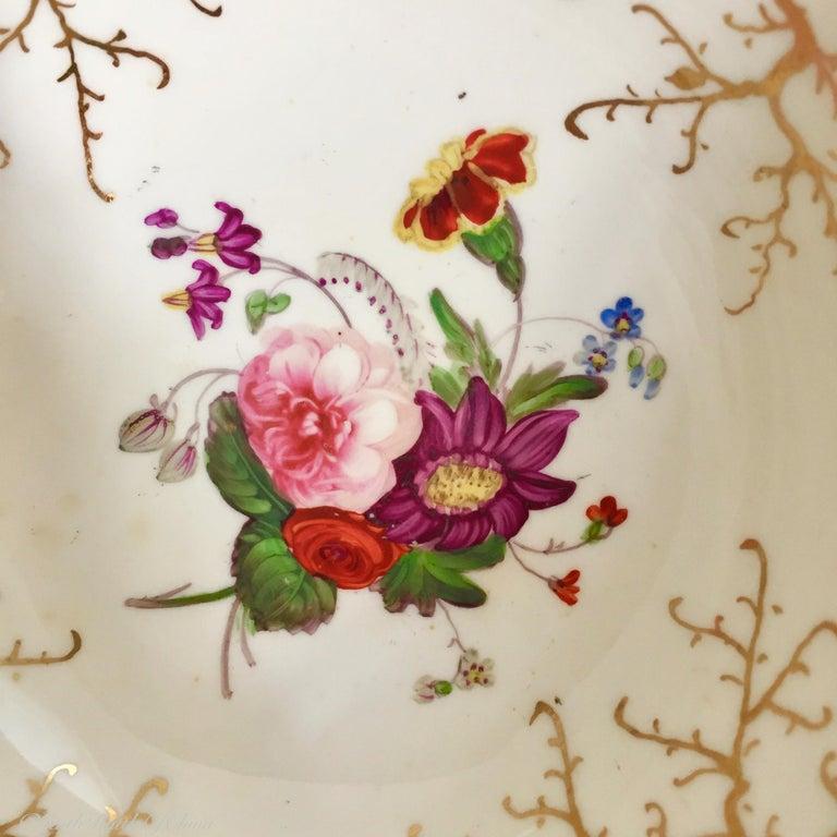 Rockingham Porcelain Tea Service, Cream, Gilt and Flowers, Rococo Revival, 1832 For Sale 11