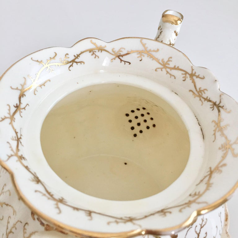 Rockingham Porcelain Tea Service, Cream, Gilt and Flowers, Rococo Revival, 1832 For Sale 12