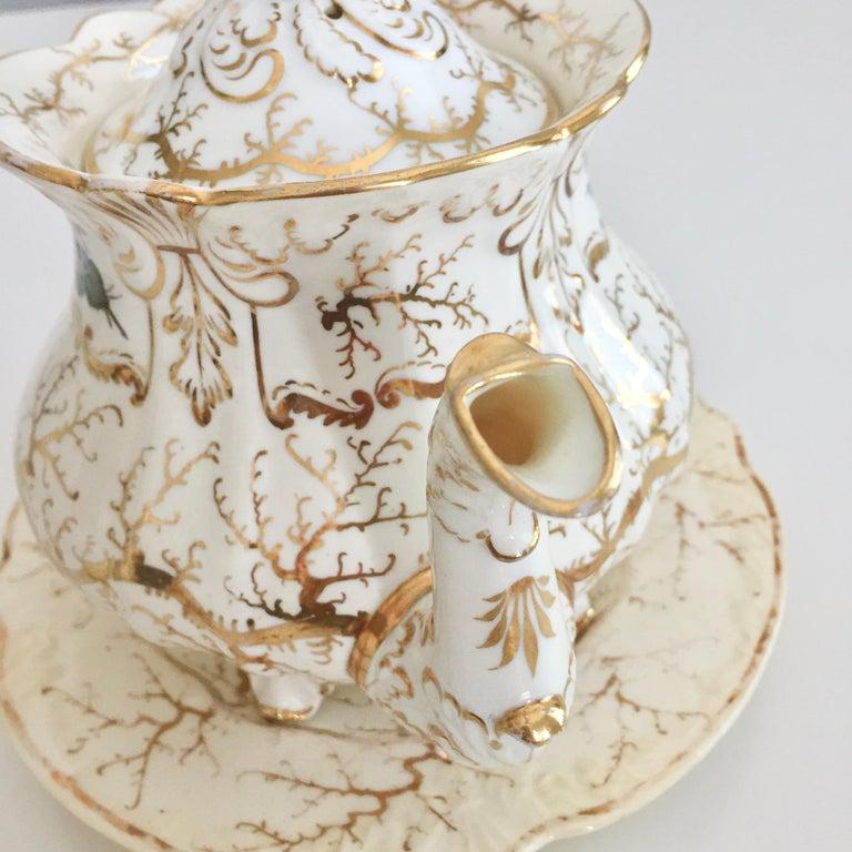 Rockingham Porcelain Tea Service, Cream, Gilt and Flowers, Rococo Revival, 1832 For Sale 13