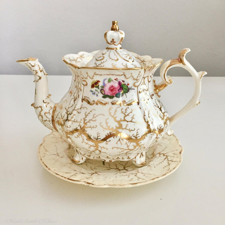 English Rockingham Porcelain Full Tea Service, Gilt and Flowers, Rococo Revival, 1832 For Sale