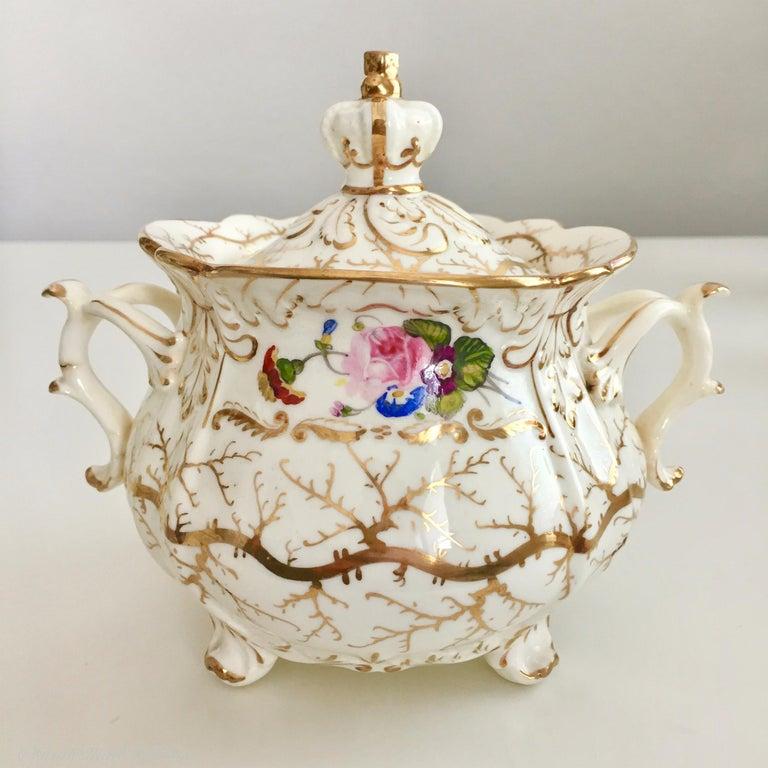 Hand-Painted Rockingham Porcelain Tea Service, Cream, Gilt and Flowers, Rococo Revival, 1832 For Sale