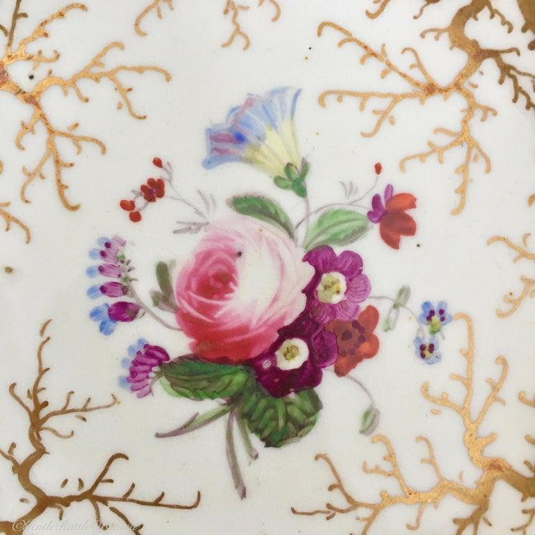 Mid-19th Century Rockingham Porcelain Tea Service, Cream, Gilt and Flowers, Rococo Revival, 1832 For Sale