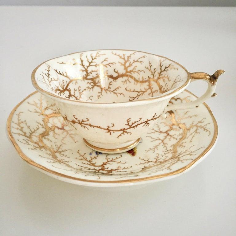 Rockingham Porcelain Tea Service, Cream, Gilt and Flowers, Rococo Revival, 1832 For Sale 1