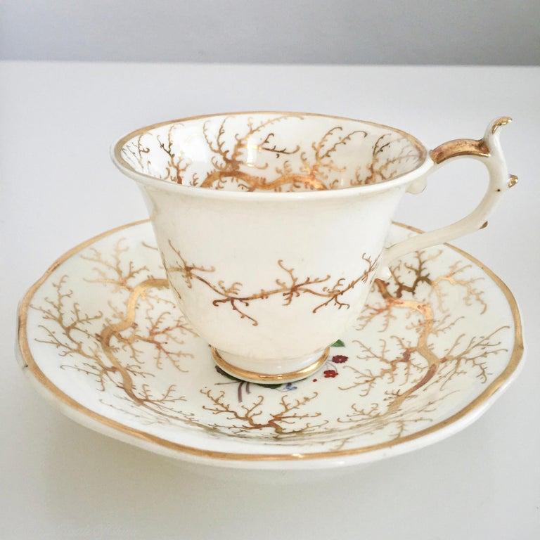 Rockingham Porcelain Tea Service, Cream, Gilt and Flowers, Rococo Revival, 1832 For Sale 2