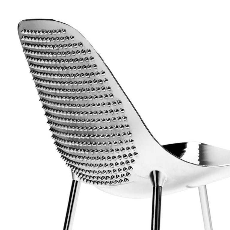 Awesome Rockn Roll Chair In Chromed Aluminium Or In Black With Pointed Nails Unemploymentrelief Wooden Chair Designs For Living Room Unemploymentrelieforg