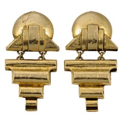 Rocks Gold Plated Art Deco Style Clip On Drop Statement Earrings