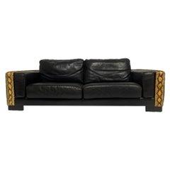Rockstar Moto Black Leather & Python / Snakeskin Sofa Post-Modern M. Villency